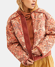 Free People Great Escape Cotton Printed Quilted Jacket