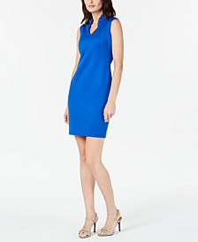 Petite Ruffled V-Neck Sheath Dress
