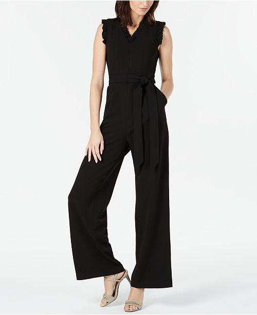 ca58ce6642b Calvin Klein Sleeveless Ruffled Wide-Leg Jumpsuit   Reviews - Pants ...