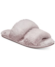 Two-Strap Faux-Fur Slide Slippers