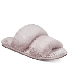 Lemon Two-Strap Faux-Fur Slide Slippers