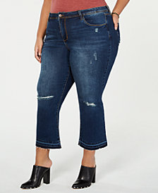 Dollhouse Juniors' Plus Size Distressed Cropped Flare-Leg Jeans