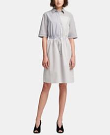 DKNY Cotton Short-Sleeve Striped & Colorblocked Dress