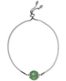 Dyed Jade (10mm) Bead Bolo Bracelet in Sterling Silver