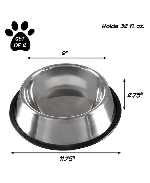 Trademark Global Stainless Steel Pet Bowls - Set of 2 By Petmaker