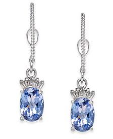 Tanzanite (2 ct. t.w.) & Diamond (1/10 ct. t.w.) Drop Earrings in 14k White Gold