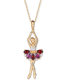 "Multi-Gemstone Ballerina 18"" Pendant Necklace (4-1/5 ct. t.w.) in 14k Gold-Plated Sterling Silver"