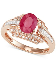 Sapphire (1-1/3 ct. t.w.) and Diamond (1/2 ct. t.w.) Ring in 14k White Gold (Also available in Certified Ruby & Emerald)
