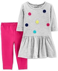 Carter's Baby Girls 2-Pc. Pom-Pom Dress & Legging Set