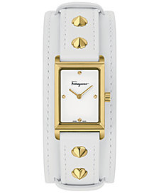 Ferragamo Women's Swiss Fiore Studs White Leather Strap Watch 20x34mm