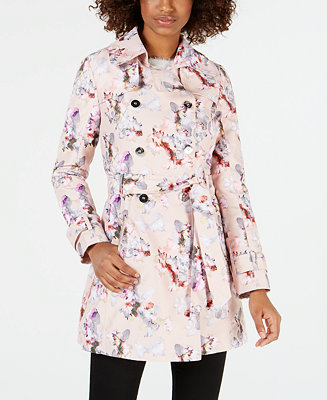Guess Floral Double Breasted Water Resistant Trench Coat