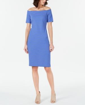 Calvin Klein Dresses STRIPED OFF-THE-SHOULDER SHEATH DRESS