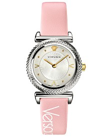 Versace Women's Swiss V-Motif Vintage Logo Pink Calf Leather Strap Watch 35mm