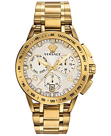 Men's Swiss Chronograph Sport Tech Gold Ion-Plated Stainless Steel Bracelet Watch 45mm
