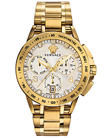 Versace Men's Swiss Chronograph Sport Tech Gold Ion-Plated Stainless Steel Bracelet Watch 45mm