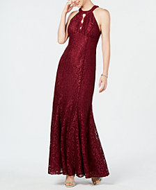 Nightway Petite Lace Keyhole Gown