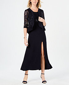 R & M Richards Petite Lace Jacket & Gown