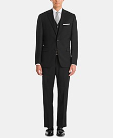 Men's UltraFlex Classic-Fit Black Wool Suit Separates