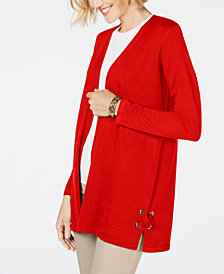 JM Collection Lace-Up Cardigan, Created for Macy's