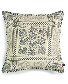 "Tommy Hilfiger Quinn Cotton Blanket Stitch 18"" x 18"" Decorative Pillow"