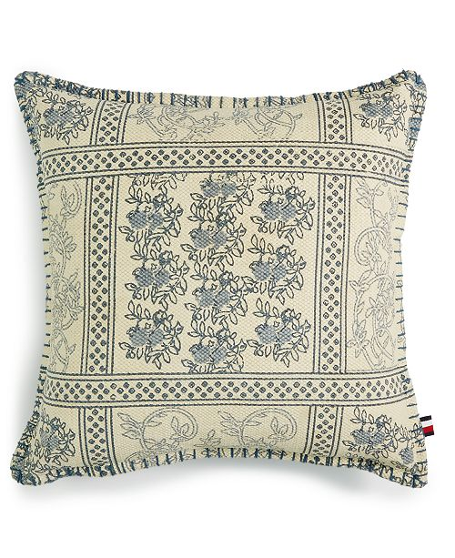"Tommy Hilfiger Quinn Cotton Blanket Stitch 18"" x 18"" Decorative Pillow"