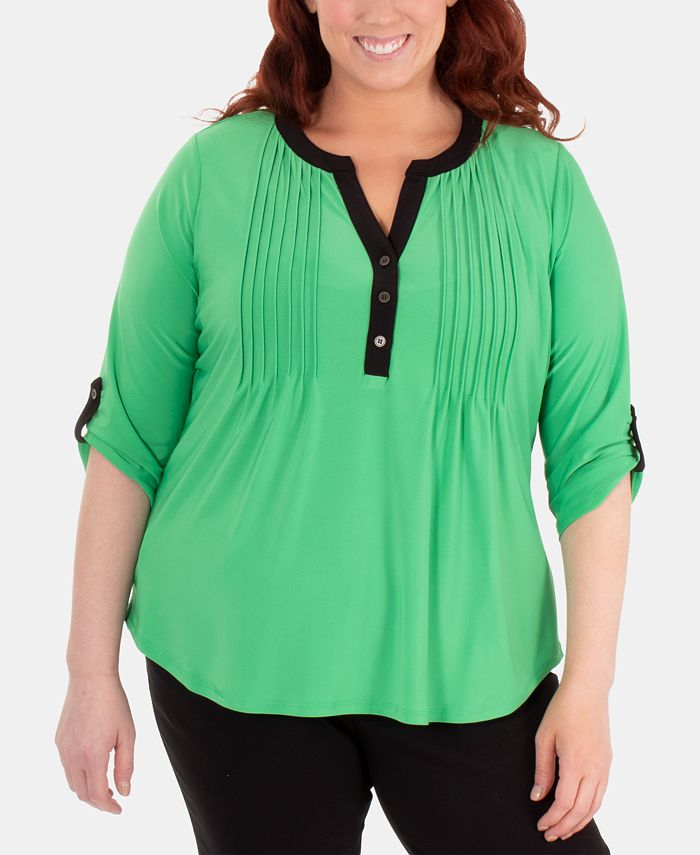 NY Collection - Plus Size Split-Neck Pintuck Top