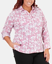 32188204c5d NY Collection Plus Size Printed Button-Front Shirt