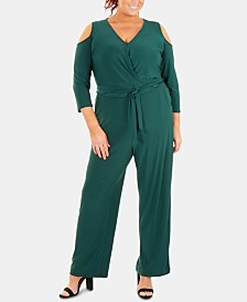 NY Collection Plus Size Cold-Shoulder Jumpsuit