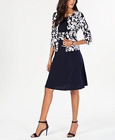 Jessica Howard Petite Fit & Flare Dress & Printed Jacket