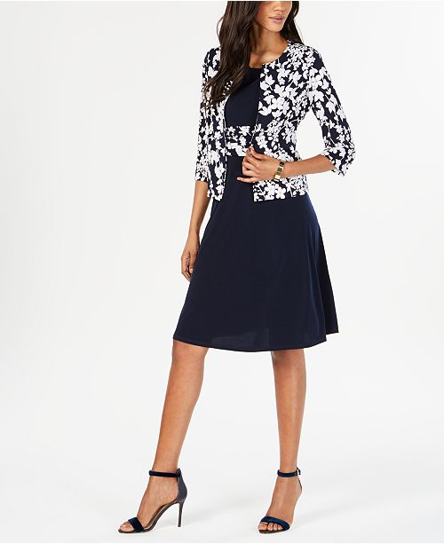 6affd23acf Jessica Howard Petite Ruched Dress   Floral-Print Jacket   Reviews ...