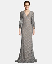 5be38543736 Betsy   Adam Embellished Lace Bell-Sleeve Gown