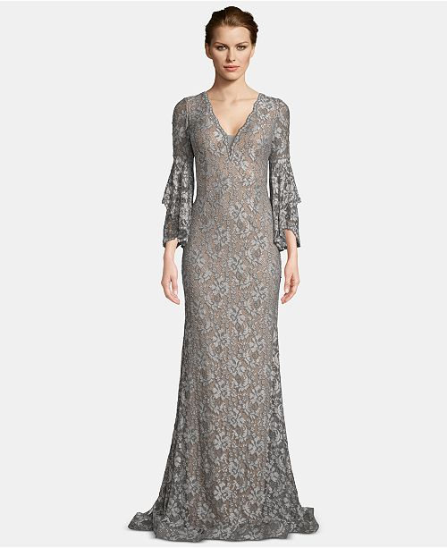 Betsy & Adam Embellished Lace Bell-Sleeve Gown