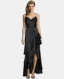 Betsy & Adam Ruffled Satin High-Low Gown