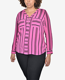 NY Collection Plus Size Half-Zip Striped Shirt