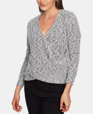 1.STATE Wrap Front Boucle Knit Top in Soft Ecru