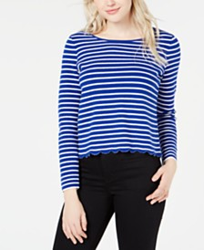 Maison Jules Striped Scalloped Crossover Top, Created for Macy's