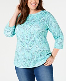 534053938348d Charter Club Plus Size Cotton 3 4-Sleeve T-Shirt