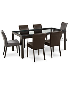 Tate Dining Furniture, 7-Pc. Set (Table, Graphite Side Chairs & Dark Brown Side Chairs)