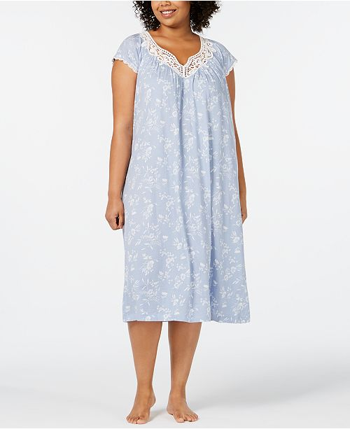 ee94f5183fe Charter Club Plus-Size Flutter Sleeve Printed Soft Knit Nightgown ...