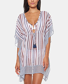 Jessica Simpson Striped Chiffon Border Cover-Up with Tassels