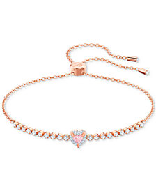 Swarovski Rose Gold-Tone Crystal Heart Slider Bracelet