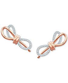 Swarovski Two-Tone Pavé Bow Stud Earrings