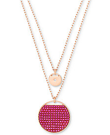 "Swarovski Rose Gold-Tone Ginger Pavé Disc Double-Row 17-4/5"" Pendant Necklace"