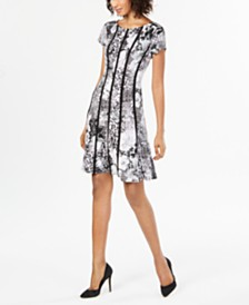 Connected Petite Printed Seamed Fit & Flare Dress