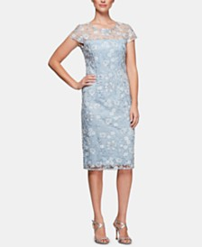 Alex Evenings Petite Embroidered Mesh Dress