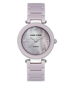 Anne Klein Women's Diamond-Accent Lavender Ceramic Bracelet Watch 33mm