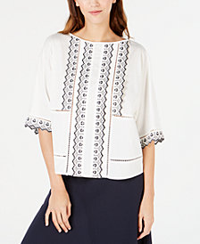 Weekend Max Mara Embroidered Eyelet-Trim Cotton Top