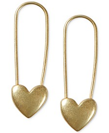 Gold-Tone Heart Safety Pin Drop Earrings