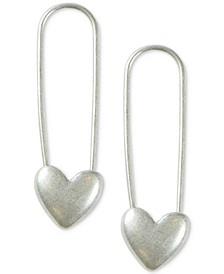 Gold-Tone Heart Safety Pin Drop Earrings