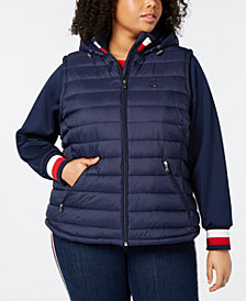 Tommy Hilfiger Plus Size Hooded Flag Puffer Jacket,Created for Macy's